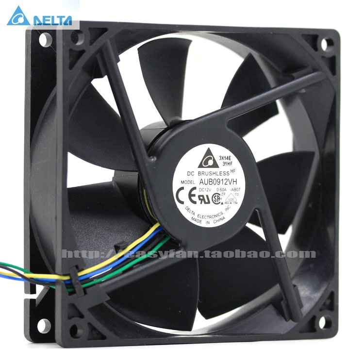 For Delta AFB0912VH = AUB0912VH 9cm 90mm 90*90*25MM 9225 DC 12V 0.60A 4-pin Pwm Computer Cpu Cooling Fans