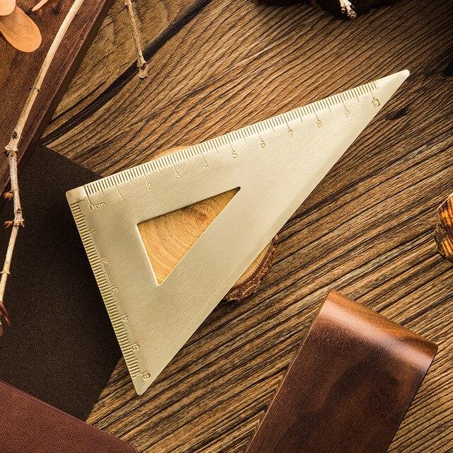 Vintage In Ottone Righello Triangolo Righello Goniometro Scuola Scherza il Regalo Set di Strumenti di Misura, 12 centimetri 15 centimetri Righello Kawaii Accessori di Cancelleria 3