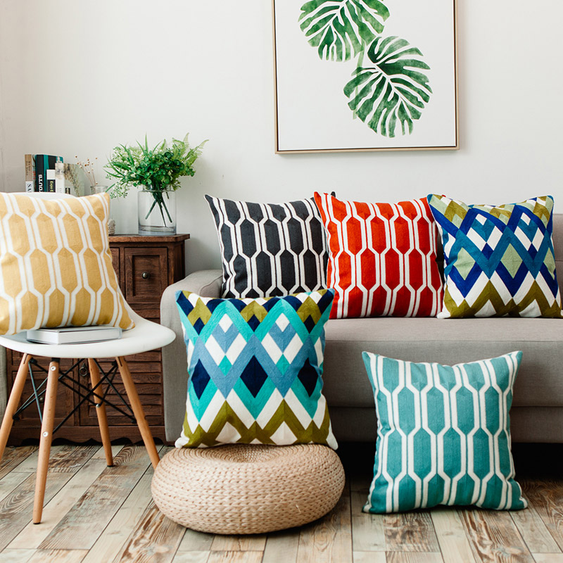 Junwell Sofa Throw Pillows 18 X 18 Inch Cotton Embroidery Geometric Circles Accent Decorative Pillow Cushions