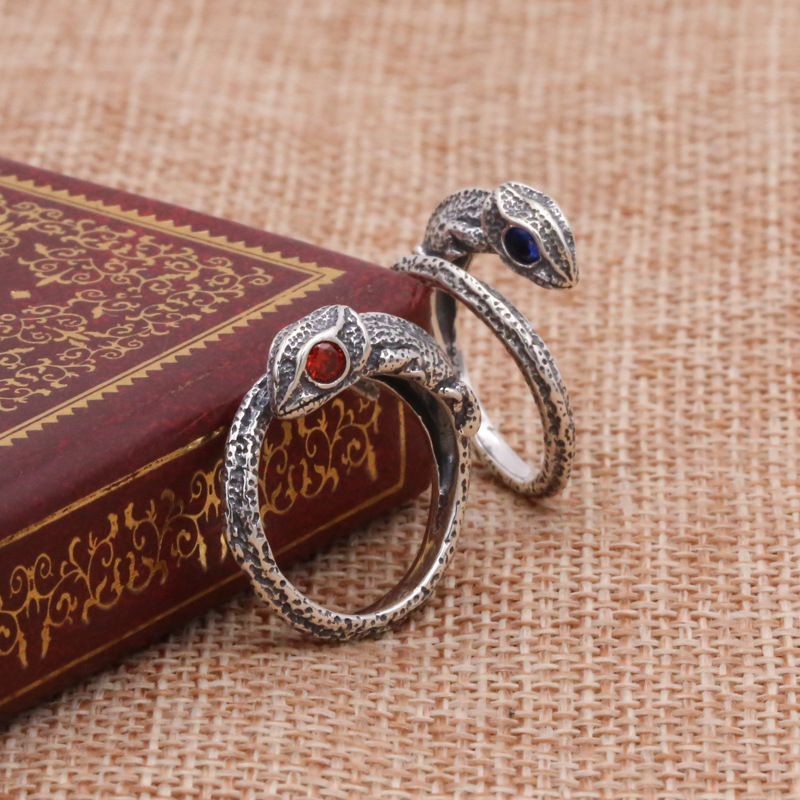 Factory Wholesale S925 Sterling Silver Jewelry Retro Thai Silver Jane Ladies Creative Lizard Bend Ring