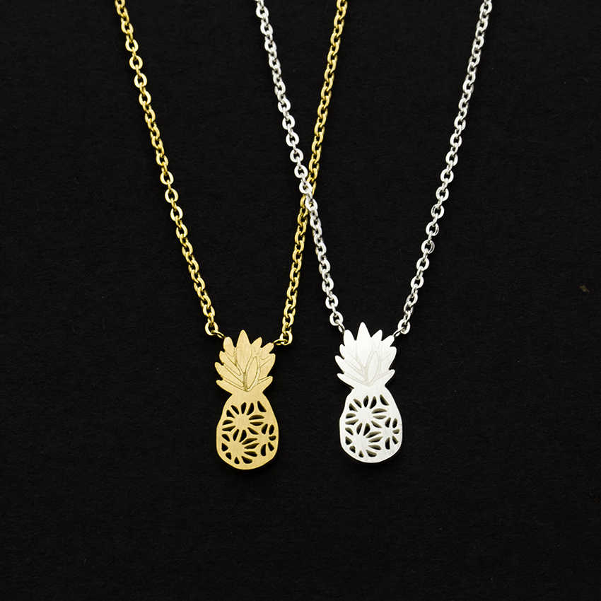 Dainty Pineapple Necklaces Women Fashion Jewelry Hawaii Aloha Stainless Steel Chain Ananas Pendant Necklace Bijoux Collier Femme