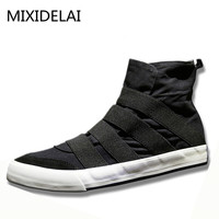New High Top Men Shoes Flats Slip On Casual Shoes Male Canvas Shoes Plimsolls Espadrilles Man