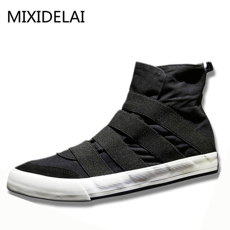 New High Top Men Shoes Flats Slip On Casual Shoes Male Canvas Shoes Plimsolls Espadrilles Man