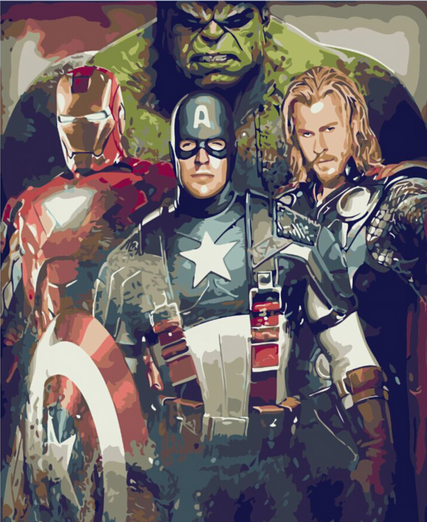 Frameless The Avengers picture on wall acrylic paint by ...