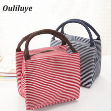 Ouliluye Furnitur Canvas Striped Lunch Bag Insulated Portable Food Container For Kid Business Practical Insulation Box