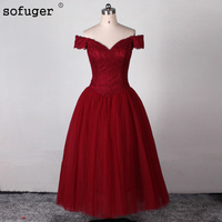 Robe de soiree Sexy Burgundy Prom Dresses 2018 High Neck Sweep Train Lace Appliques Floor Length Mermaid Long Evening Gowns