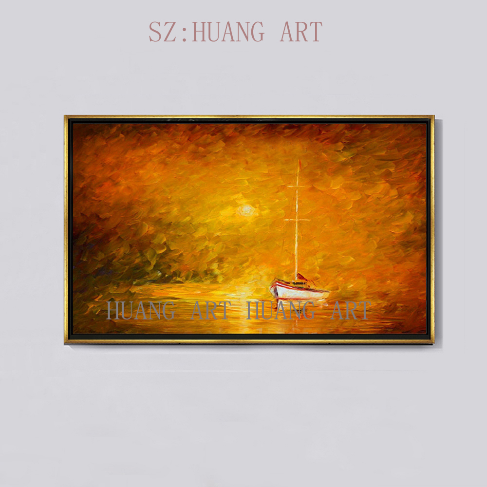Hand-painted modern <font><b>knife</b></font> painting seascape oil painting sea red <font><b>boat</b></font> decorated hall bedroom hotel lobby restaurant image