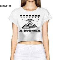 SAMCUSTOM 2017 Piramitleri UFO Yabancılar Kafa Kadınlar 3D Baskı Moda Mahsul Tops Sokak t gömlek Çıplak Diafram Seksi T-Shirt