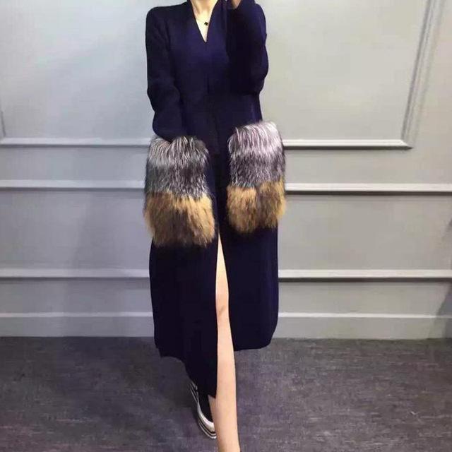 Estilo europeo de la manera nuevo invierno abrigo de cachemira de visón con piel de zorro bolsillo longitud larga de las mujeres chaqueta de punto para damas