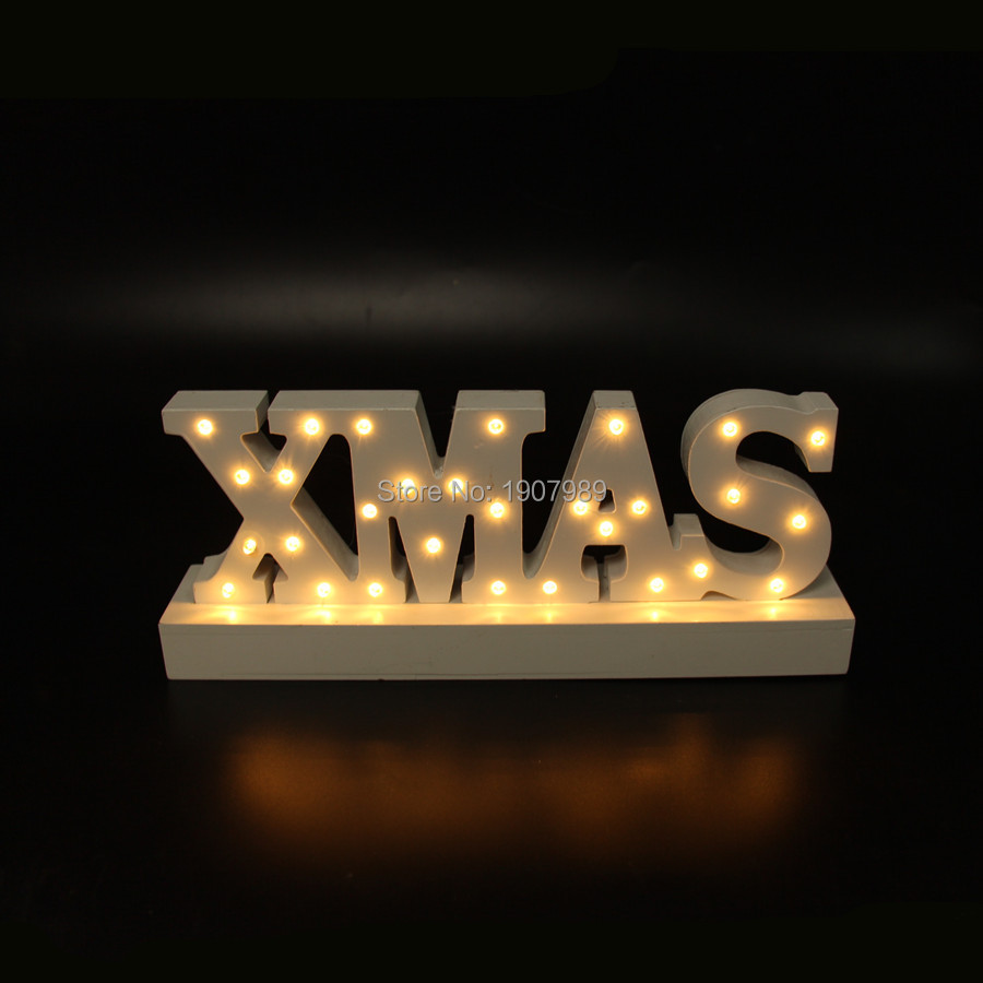 White Wooden Xmas Letter Light Led Marquee Sign Up Night Merry Christmas Indoor Table Deration Free Shipping In Lights From