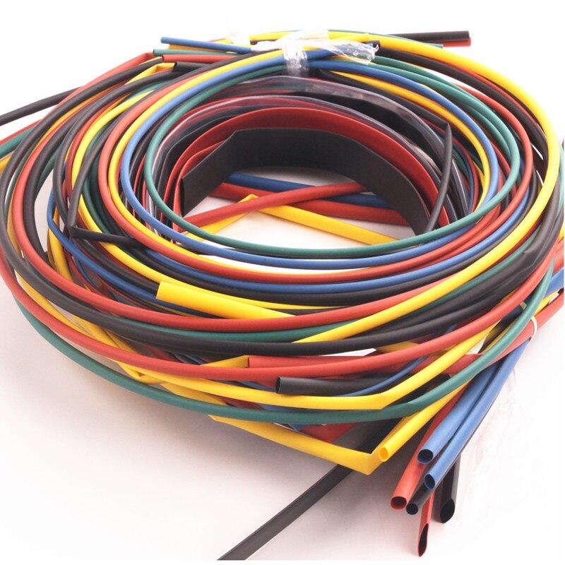 55M/Pack Insulation Polyolefin Ratio 2:1 Heat Shrink Tubing 11 sizes 6 Colour Shrinkable Tube Sleeving Set