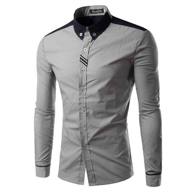 Новое поступление мужчины свободного покроя с длинным рукавом мужская качество бренда платье рубашки тонкой модный дизайн сорочка homme