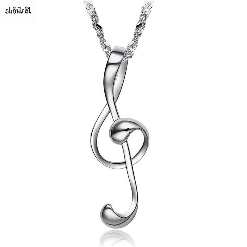 Womens Love Musical Note Pendant Necklace Stainless Steel Charm