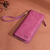 LAORENTOU Brand Lady Large Capacity Card Holder Zipper Wallet Casual Purse Women Wallets Leather Purse Long Wallet for Female
