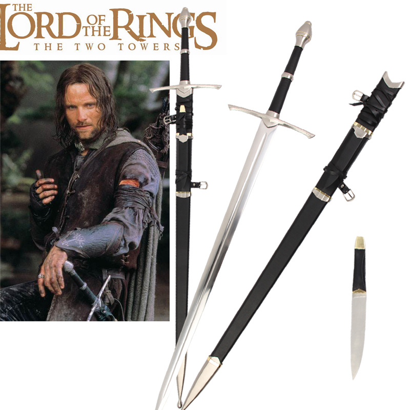 Movie The Lord of The Rings Strider Ranger Aragorn Real Sword Medieval Sword Stainless Steel No