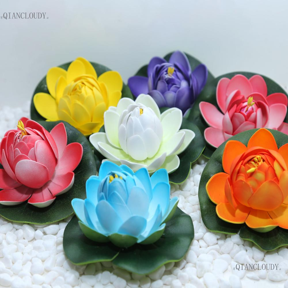 10 Pieces Artificial Fake Lotus Flowers Buds Leaves Water Lilies