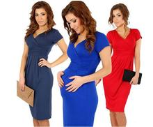 New V-Neck Maternity Dresses Clothes For Pregnant Women Short Sleeve Cotton Plus Size Nursing Clothes