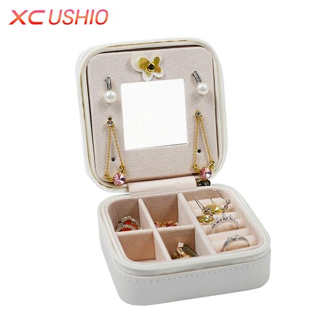 XC USHIO Portable Jewelry Box Travel Jewellery Organizer Case PU