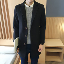 Autumn and winter 2016 new men's fashion jacket British wind in the long section of pure color simple men's leisure fashion coat