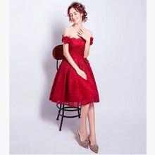 Sexy Boot-ausschnitt Kurze Abendkleid Open Back Formales Partei-kleid heiß Rot Prom Kleid Flügelärmeln Formale Party Kleider Spitze Kleider
