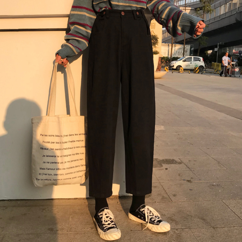 Women Korea Style Ulzzang Harajuku BF Loose High Waist Black Denim Ankle-Length Pants   Jeans   Female Student Casual Harem Pants