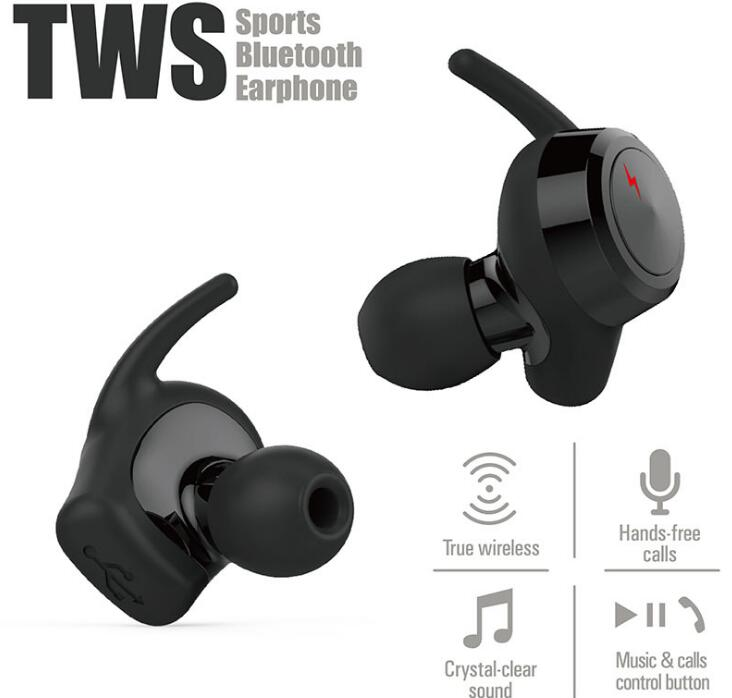 True Wireless Bluetooth Earbuds Sport Earphone In-Ear Noise Cancelling Headset with BT 4.2 and Stereo Surround Sound for phone
