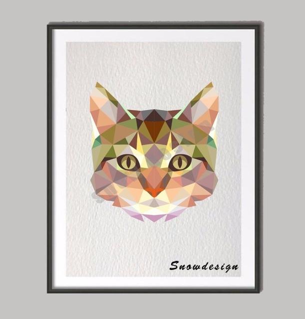 Niskie Poli Nowoczesny Geometryczny Koral Kot Płótnie Malarstwo