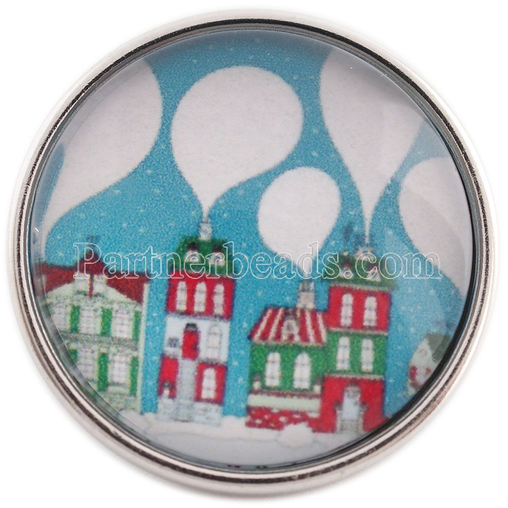 PARTNERBEADS 20mm Glass Snap Jewelry Christmas Gift Santa Claus And Deer Print Snap Button Jewelry Fit Bracelet Charms C1100