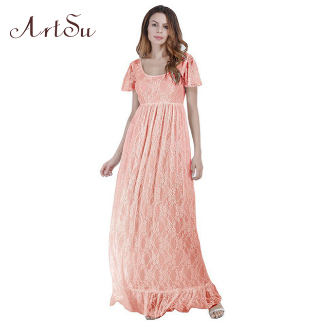 ArtSu New Lace Maternity Dresses For Pregnancy Woman Ruffles Petal ...