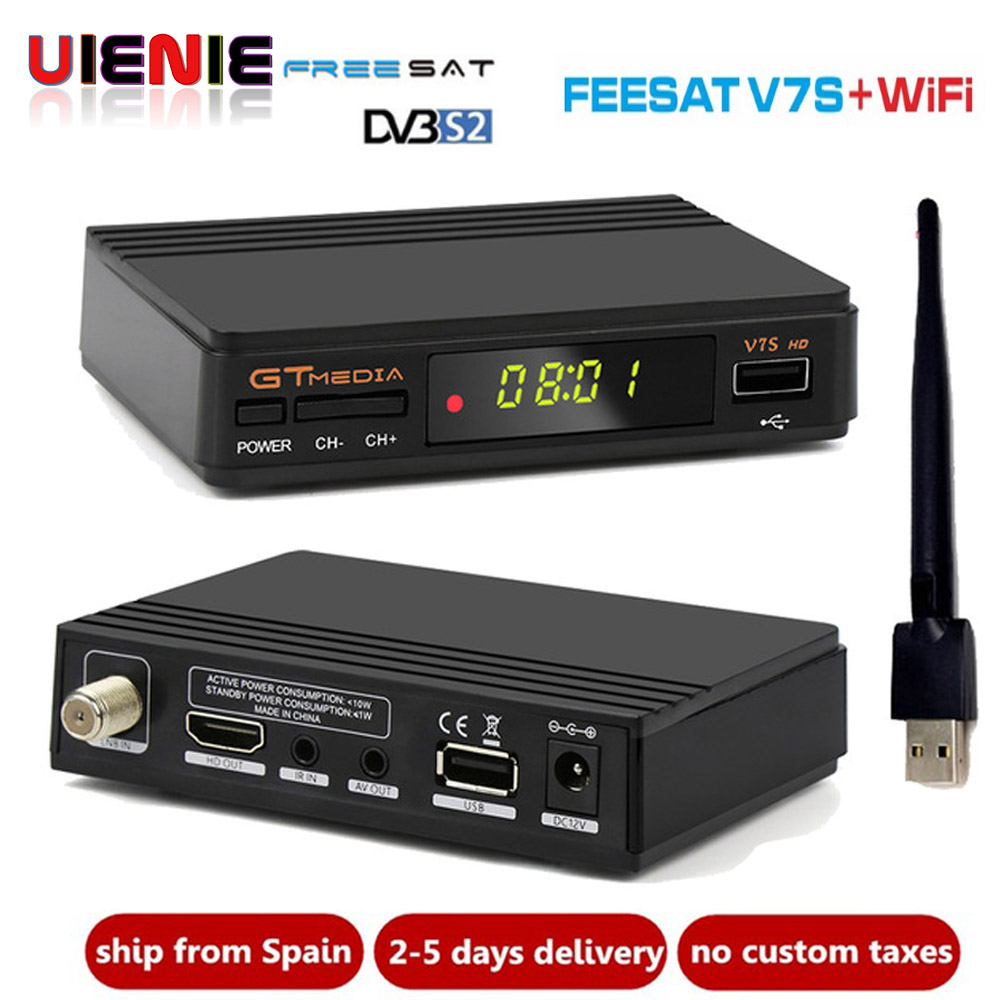 Freesat V7s HD c Ccam Satellite Receiver 1 Year Europe Spain CCam Server 1 USB WIF