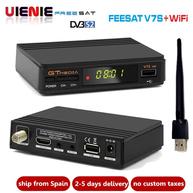 Freesat V7s HD CCcam Satellite Receiver +1 Year Europe Spain CCcam 4 Clines Server+1 USB WIF Device DVB-S2 Satellite HD Receiver