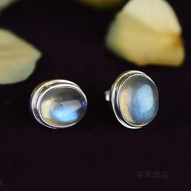 Sterling Silver India Nepal Manual Mosaic Moonlight Labradorite Earrings Stud Blu Ray Egg