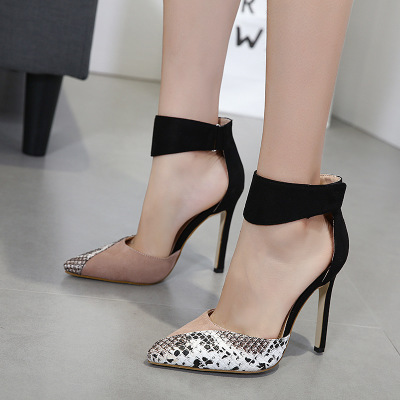 High Heels Ankle Hook-Loop Pointed Toe Stiletto Pumps Ladies Banquet Party Shoes 2