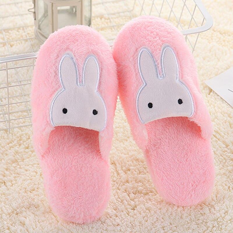 Women Cotton Home Slippers Non Slip Cute Rabbit Prints Indoor Soft Slippers Winter Couple Plush Warm Shoes Flats Female Slides все цены