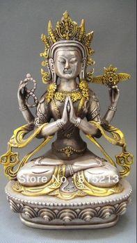 bi00433 Tibet Tibetan Buddhism Silver Bodhisattva Four arm Kwan Yin Buddha Statue
