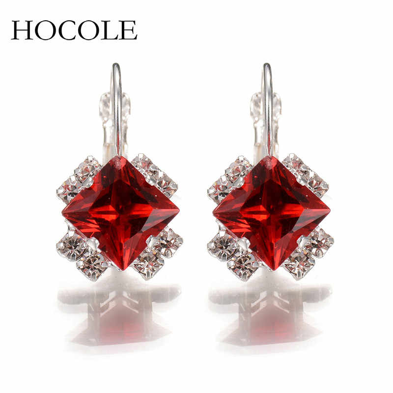2018 Luxury Rhinestone Red Blue Square Crystal Drop Dangle Earrings For Women Statement Wedding Jewelry Pendientes Mujer