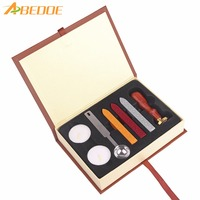ABEDOE Retro School Badge Wax Seal Stamp Kit Wax Stick Spoon Gift Box Set Gifts For