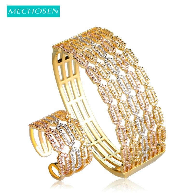 MECHOSEN Fashion Luxury Super Shiny Cubic Zircon Wide Bracelet Bangle Ring Set Gold Color Hollow Hand Women Wedding Jewelry Set