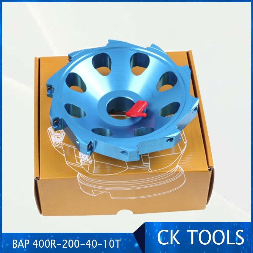 Plaque de fraisage à angle droit APKT1604 alliage d'aluminium carbure 200mm fraise corps ultra léger 400r-200-40-10T