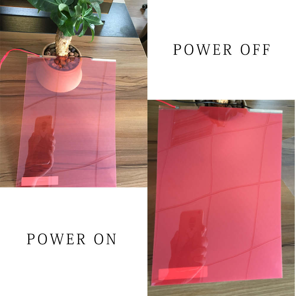 Film PDLC auto-adhésif rouge 21 cm x 29.7 cm Film intelligent de fenêtre en verre teinte Film intelligent pour voiture de bureau à domicile