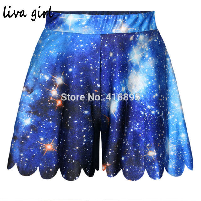 Sexy Women Casual Shorts Summer Beach Galaxy Space Printed Female Shorts Skirts Pantskirt Mini Feminino Shorts Blue Purple