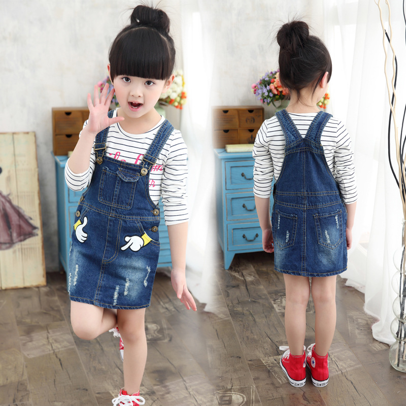 2016 New Kid Clothes Suit for Baby Girl Cotton Long Sleeve T-shirt + Cowboy Suspender Skirt Children Clothing Sets Spring Autumn
