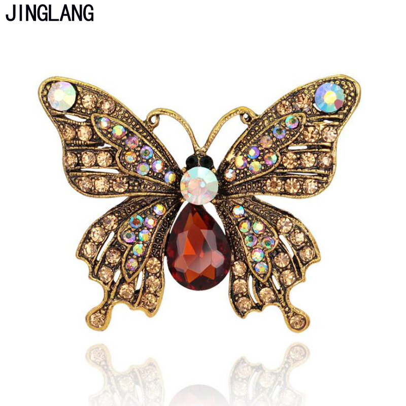 JINGLANG Retro Bronze Color Fashion Metal Brooches Pins Brown Rhinestone Butterfly Brooches For Women Clothes Decoration Jewelry