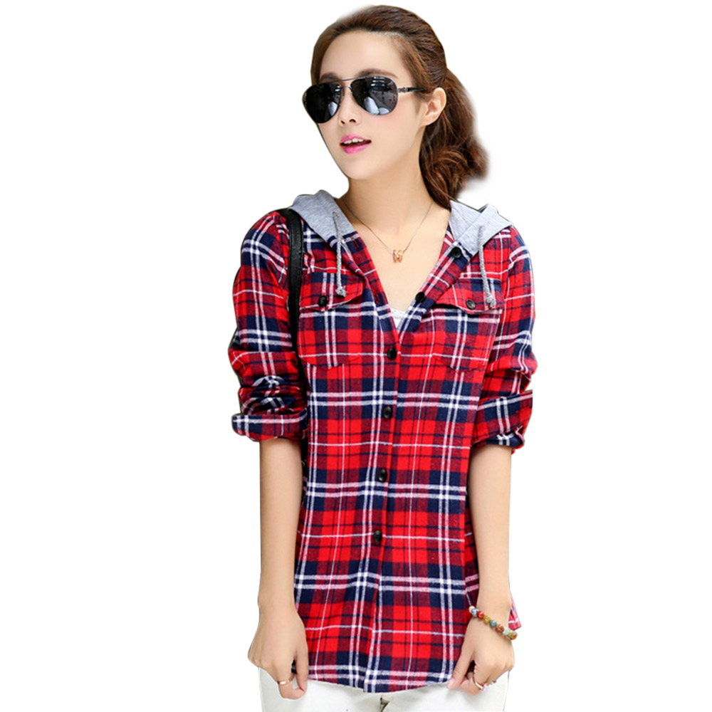Vestlinda casual red plaid blouse shirt women Womens red plaid shirts blouses