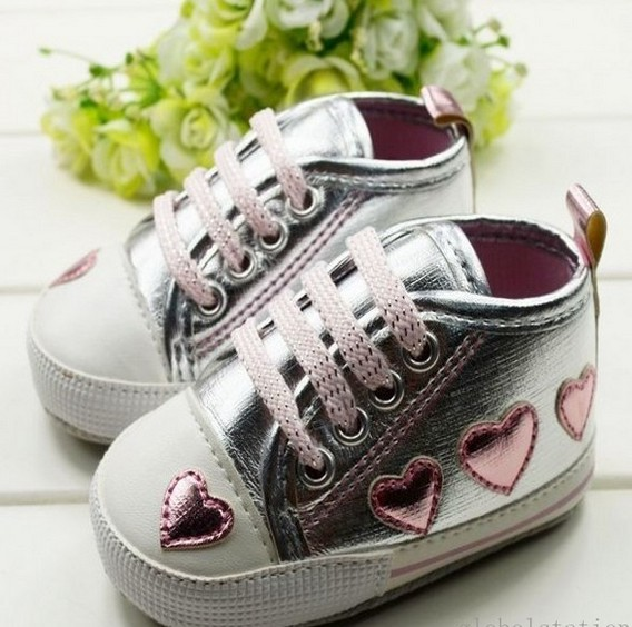 Cute-pink-Love-Style-Kid-Toddler-Baby-Girl-Silver-Crib-Heart-Soft-Shoes-Walking-Sneaker-0-18-M-3
