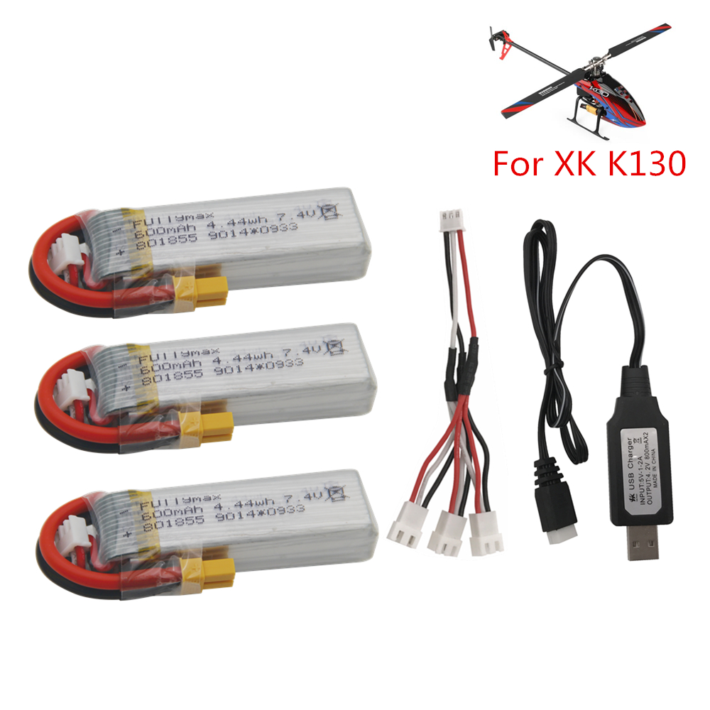 <font><b>7.4V</b></font> <font><b>600mAh</b></font> <font><b>Lipo</b></font> <font><b>Battery</b></font> For XK K130 RC Helicopter Spare Parts Accessories XK K130 <font><b>Battery</b></font> With 1 to 3 adapter wire and Charger image