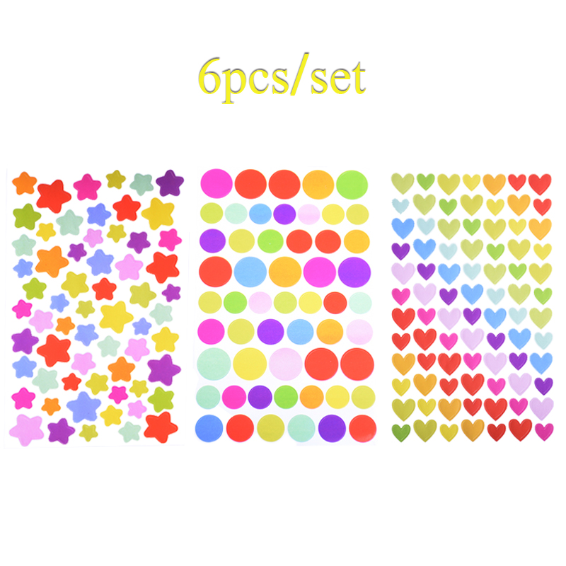 6sheets Set Colorful Sticker Dot Love Heart Star Shape Stickers Kids Paper Diary Scrapbook Decorative For Children Creative Toys Scrapbooking Machine Decor Scrapbookingscrapbooking Pattern Aliexpress