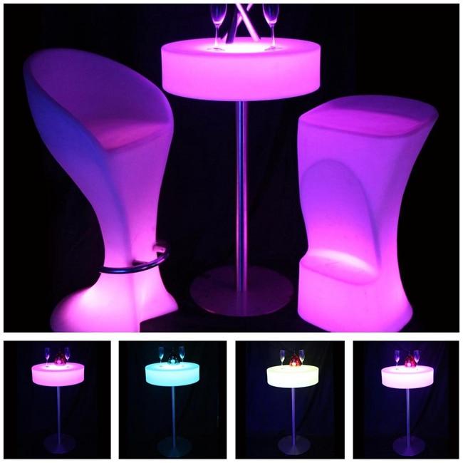 Meja Bar Kopi Barbeku Pencahayaan Kalis Air SK-LF21A (D66 * H105cm) Perabot Luar untuk Piknik Pesta kapal percuma 1 pc