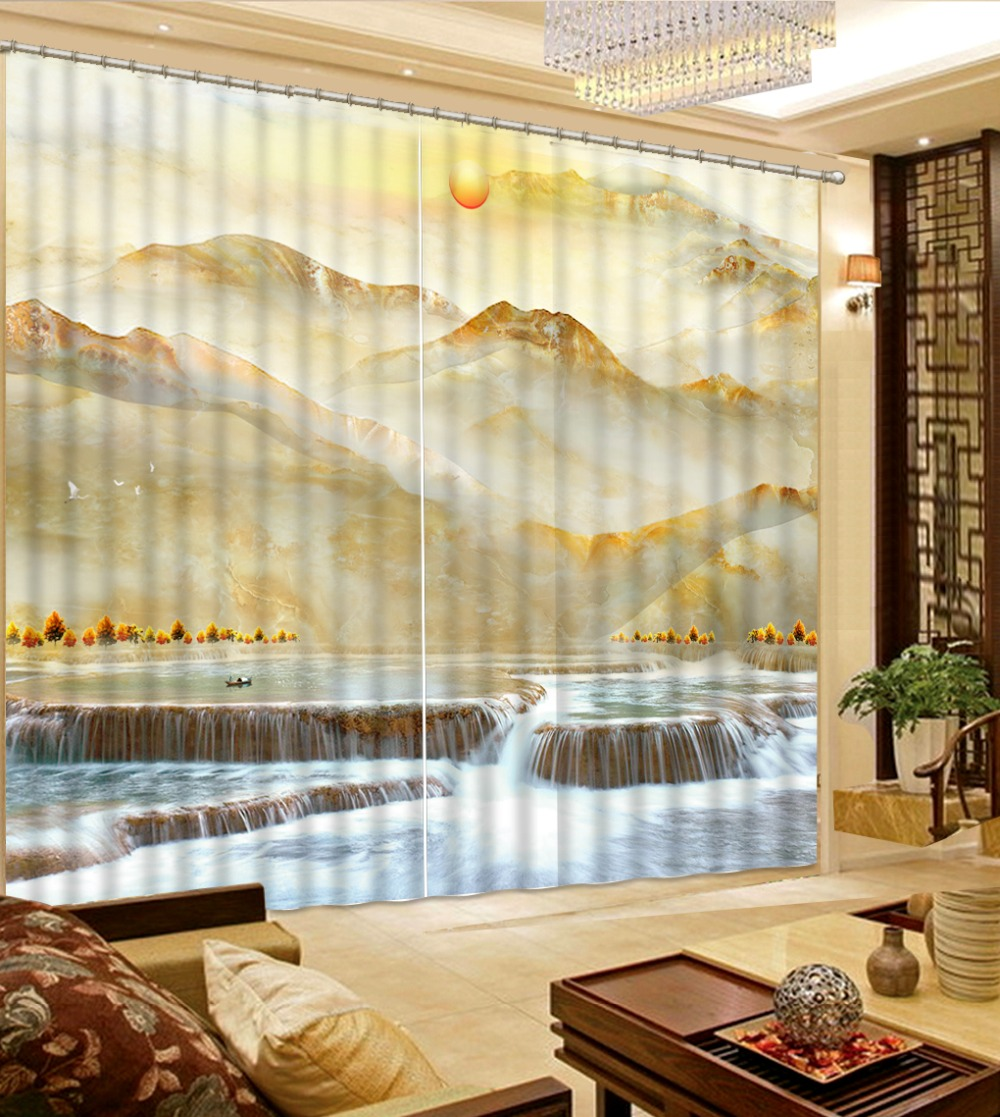 US $64.5 57% OFF Customize Marble waterfall Jacquard Blackout Curtains  Living room Room Bedroom Window Grommet Top Curtains-in Curtains from Home  & ...