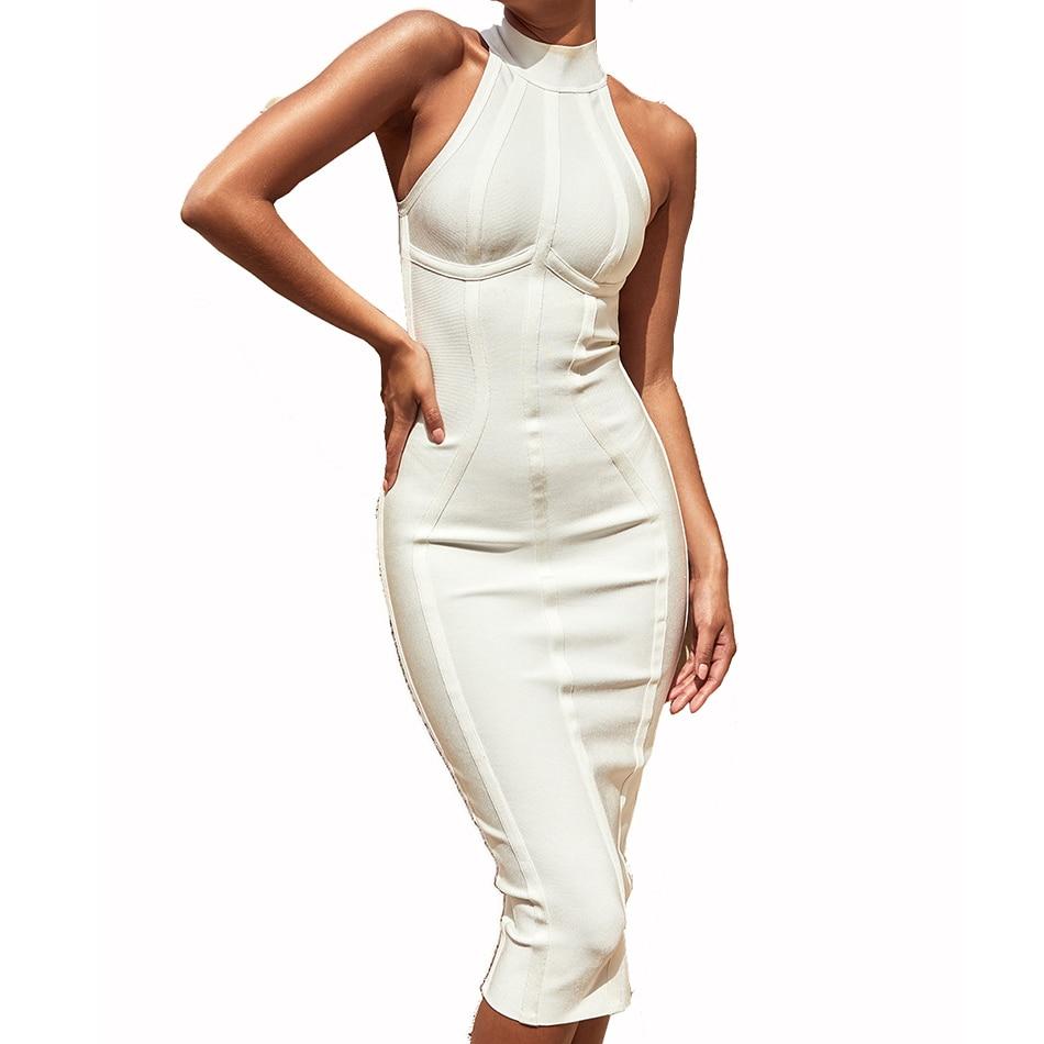 3d8eecaa2 ... [HOT DEAL] US $52.47 for Seamyla Sexy Women White Bandage Dress 2019 New  Arrivals Striped Midi Bodycon Dresses Sleeveless Clubwear Party Dress  Vestidos